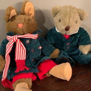 Christmas decorations rabbit and bear